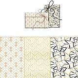 ARCA Geschenkpapier, 3 Bögen, hochwertiges Gold, 100 x 70 cm, geometrische Formen (einfach)
