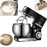 Multifunktional,Küchenmaschine Knetmaschine (1000W) leistungsstark, leise, 5 L Edelstahlschüssel, 3-Rührwerkzeuge, Spritzschutz, Teigschaber