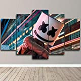 AWER Mural Foto Electro Music. 5 Stück Leinwand Bilder Wandbild modern Wandbilder Design Wand Bild fünf Teile Modulare Bilder Wanddekoration 5 Teilig