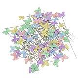 Mopei 100 Stück Mehrfarbige Stecknadeln, Schmetterlingsformen Head Pins für DIY Schmuck, Nähen und Basteln(5 Farben, 50 mm)