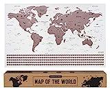 envami Weltkarte zum Rubbeln I Scratch Off Map I Roségold I 68 cm x 43 cm I Englisch I Landkarte zum Rubbeln I Weltkarte zum Freirubbeln I Rubbelweltkarte I Weltkarte zum Freikratzen I Scratch Poster