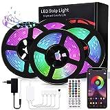 Bewahly LED Strip 20M, Bluetooth RGB LED Streifen, Dimmbar LED Lichtband mit Fernbedienung, Steuerbar via App, LED Stripes Sync mit Musik, Farbwechsel LED Band Selbstklebend für Zuhause, Party, B