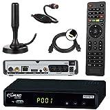 netshop 25 Set: Comag SL65T2 DVB-T2 Receiver (Mit Zugangssystem für FREENET TV) + aktive DVB-T2 Antenne + HDMI Kabel, HDTV, PVR Ready, HD USB Mediaplayer, HDMI & SCART Ausgang, schwarz