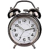Analoger Wecker Nachttisch Lauter Wecker Kreativer großer Ring-Wecker, Zeiger stille Bewegung und Nachtlicht-Wecker, runder Wecker Super Silent Non Ticking Kleine Uhr für Bedroon, N (Color : Black)