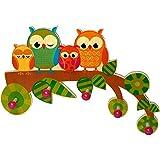 Hess Holzspielzeug 30316 - Garderobe aus Holz, Serie Eule, mit 5 Haken, für Kinder, ca. 37 x 25 x 6,5 cm groß, handgefertigt, als Blickfang in jedem Kinderzimmer und Flur