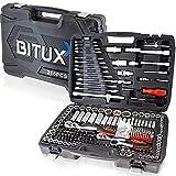 BITUXX® Werkzeugkoffer 215 tlg Werkzeug Knarrenkasten Ratschenkasten Nusskasten Stecknuss Adapter Umfangreiches Set mit 1/2' 1/4' 3/8' Ratschen & Zubehör