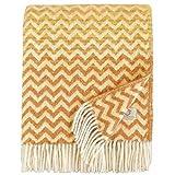 Linen & Cotton Luxus Warme Decke Wolldecke Bunt Wohndecke Kuscheldecke Aurora - 100% Reine Neuseeland Wolle, Gelb Senf/Beige (130 x 170cm) Sofadecke/Überwurf/Plaid Couch Sofa/Schurwolle Blanket