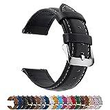 Fullmosa 12 Farben Uhrenarmband, Axus Serie Lederarmband Ersatz-Watch Armband mit Edelstahl Metall Schließe für Herren Damen 14/16/18/20/22/24mm,Schwarz 18mm