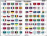 Larsen L2 Flaggen-Puzzle, Spanisch Ausgabe, Rahmenpuzzle mit 80 Teilen