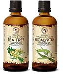 Teebaumöl 100ml und Eukalyptusöl 100ml Ätherische Öle Rein & Natürlich für Diffuser - Sauna - Aromatherapie - Duftlampe - Entspannung - Raumduft - Körperpfleg