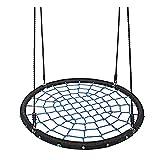 Nestschaukel Garten-Schaukel Tellerschaukel 40 Zoll Spinnennetz-Baumschaukel, rundes Indoor-Outdoor-Schaukelspielzeug mit verstellbaren Seilen, 440 lb Tragfähigkeit, extra sicher und langlebig für Kin