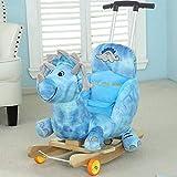 Baby Baby Holz-Schaukelpferd Schaukeltiere und Riemenscheiben und Riemen, Dinosaurier Plüsch Kuscheltier Innen- und Außenschaukelstuhl setzen,Blue