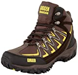 GUGGEN Mountain M009 Bergschuhe Bergstiefel Wanderschuhe Wanderstiefel Mountain Boots Trekkingschuhe mit echtem Leder, Farbe Braun-Gelb, EU 45