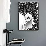 Moderne Malerei Poster Nordic Zitat Poster Schwarz Weiß Schmetterling Frau Mode Frauen Wandkunst Leinwanddruck Bild Wohnkultur-50x70cm Kein Rahmen