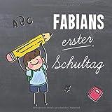 Fabians erster Schultag: Personalisiertes Erinnerungsalbum & Gästebuch zur Einschulung / Schulanfang, 21x21cm