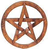 Windalf Großes Pagan Handgearbeitetes Wandornament SALUR Ø 30 cm Schutz-Pentagramm im Kreis Wandrelief H