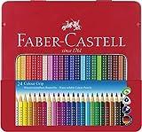 Faber-Castell - Farbstift Colour Grip (24er Metalletui) stabiles, langlebiges Etui auch für unterwegs auf Reisen
