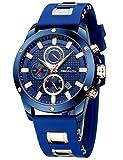 MEGALITH Herrenuhr Blau Chronographen Herren Armbanduhr Wasserdicht Uhren fur Männer Großes Wasserdicht Designer Leuchtende Analog D