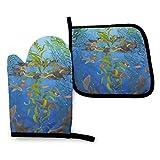 GOSMAO Ofenhandschuhe und Topflappen-Sets Topfhandschuhe Kelp Magic Limited Edition Druck, Hitzebeständige Topflappen zum Grillen in der Küche Grillen Backen Grillen