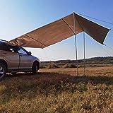 GYAM Car Shelter Shade, Camping Side Car Dachzelt, wasserdichte tragbare UV-Windschutzscheibe, Camping Tent Windschutzscheibe, Automobile Roof Top Rain Canopy,Khaki,300 * 150cm