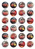 Tortendekoration aus Esspapier mit Motiven aus Cars von Disney, für Cupcakes, Kuchen, Geburtstag, Feiern, 24 Stück