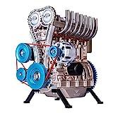 EAYOK 4 Zylinder Motor Bausatz, Metall Automotor Modell, STEM Spielzeug für Erwachsene, TECHING DM13-A Motor - 325 Teile