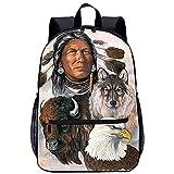 ZFWEI Outdoor Backpack Indianer und Wölfe Mädchen Schulrucksack Modischer Freizeitrucksack für Frauen Teenager Jungen Wasserdicht Tasche Schulranzen Tagesrucksack mit Laptopfach