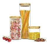 Sendez® 3 Vorratsdosen 2,2 + 1,3 + 0,6 Liter mit Deckel Vorratsbehälter Vorratsdose Vorratsglas Vorratsgläser