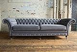 JVmoebel XXL Sofa 4 Sitzer Couch Chesterfield Polster Sitz Garnitur Leder Textil Graue