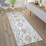 Paco Home Teppich Wohnzimmer Boho Ethno Marokkanische Muster Moderner Kurzflor Mit Struktur In Bunt Beige, Grösse:80x150 cm, Farbe:Creme 2