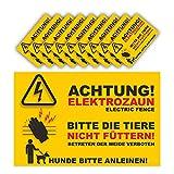 Warnschild Elektrozaun Set 10 Schilder - 20x13cm - Vorgebohrt - auf 3mm Hartschaump
