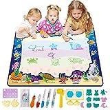 Aqua Doodle Matte 100*80cm Wasser Doodle Matte mit 4 Aqua Magic Stifte und 22 Zubehör, LIBERRWAY Wasser Malmatte für Baby Kinder Mädchen Junge,Painting Geschenk für 1 2 3 4 5 6 7 Jahre