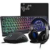 G-LAB Combo Selenium - 4-in-1-Gaming-Paket - beleuchtete QWERTZ-Spielertastatur, 3200-DPI-Spielermäuse, In-Ear-Kopfhörer, rutschfeste Mausunterlage - PC Mac PS4 Xbox One Spielerset