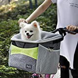 DKee Pet Bett Fahrrad pet cage, Hund Fahrrad vorne kleinen Wagen, Fahrrad Lenker kleinen pet Halter mit Schultergurt, 40 * 32,5 * 23 cm, grün und grau