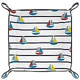 HOHOHAHA Faltbares Würfeltablett aus PU-Leder für Uhren, Schmuck, Aufbewahrung, Etui, Segelboot, Muster, Marine-Streifen.