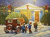 Bdwdhj Diamond Painting,5D Diamantstickerei Winterlandschaft, Volldiamantmalerei Weihnachtsbild Von Strass, Auto Urlaubsgeschenk-50X70Cm,Weihnachtsdeko,Malen Nach Zahlen