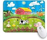 Mausmatte Mauspad Cartoon Farm mit Kuhfuchs Huhn Schwein Schwein Pferd in den Zäunen Landschaft ländliche kundenspezifische Kunst Mousepad rutschfeste Gummibasis für Computer Laptop Schreibtisch Zubeh