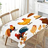 LIUBT Lustige rechteckige Tischdecke mit Bauernhof-Tier-Motiv und Hahn, für Hochzeit, Party, Esszimmer, Picknick, Küche, waschbar, 152 x 274