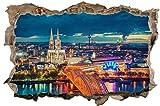 DesFoli Köln Skyline Wandloch 3D-Optik Wandtattoo 70 x 105 cm Wandbild Sticker Aufkleber D039
