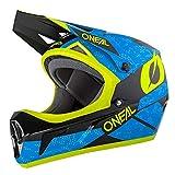 O'NEAL | Mountainbike-Helm Fullface | MTB DH Downhill FR Freeride | ABS-Schale, Magnetverschluss, übertrifft Sicherheitsnorm EN1078 | SONUS Helmet DEFT | Erwachsene | Blau Neon-Gelb Weiß | Größe M