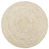 Festnight Teppich Outdoor Teppiche Rund geflochten für Garten oder Balkon Handgefertigt Jute Weiß und Natur 120 cm