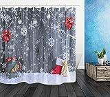 caichaxin Weihnachten Schneeball Antik Holz Wandverkleidung Dekoration Schöne wasserdichte und verschleißfeste Duschvorhang