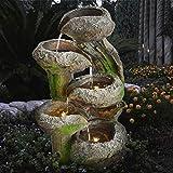 GARTENBRUNNEN BRUNNEN BAUMSTUMPF & STEINSCHALEN mit LED-Licht 230V ZIERBRUNNEN VOGELBAD WASSERFALL GARTENLEUCHTE TEICHPUMPE - SPRINGBRUNNEN WASSERSPIEL für Garten, Gartenteich, Terrasse, Teich