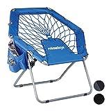 Relaxdays Bungee Stuhl WEBSTER, elastisch, Faltbar, bis 100 kg, Seitentasche, Outdoor Gartenstuhl, Klappstuhl, B