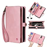 Kompatibel mit Samsung Galaxy A42 5G Brieftaschen-Schutzhülle, 2-in-1 PU-Leder, abnehmbare magnetische 4 Kartenfächer und Handgelenkschlaufe, vollständiger Schutz für Geldbörse, Rosa