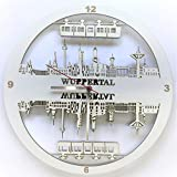 Splittprofi Wanduhr Wuppertaler Stadtsilhouette Skyline Weiss Wuppertal