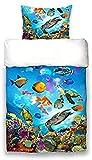 Bettwäsche-Set , Bettwäsche Under Water Blau Fische Schildkröten Korallen Quallen , Wende-Bettwäsche mit Unterwasserwelt-Motiv