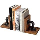 MyGift Buchstützen im Industrie-Stil, rustikales Holz, 1 Paar
