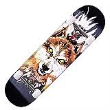 YLDXP Zhong Scooter, komplett, Cruiser, Anfänger, Skateboard, Longboard, Deck, Wandmontage, günstig, Halter, Snowboard, Jungen, Mädchen, Skateboard für Kinder im Alter von 6–12 (War Wolf)