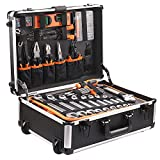 Werkzeug, 177-tlg Werkzeugkoffer mit Rollen, multifunktionale Haushaltshandwerkzeugcase, Hochqualitätswerkzeug aus CRV mit mode stange Aluminiumkoffer